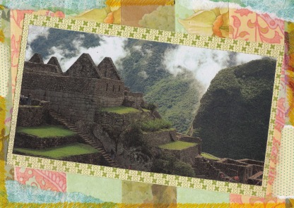 Handmade collage postcard