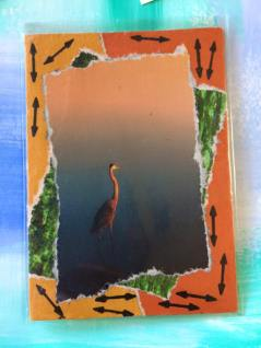 """H is for Heron"" - artist trading card"